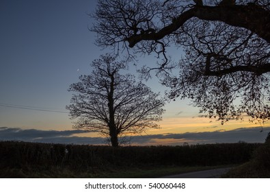 View across traditional English Countryside at sunset