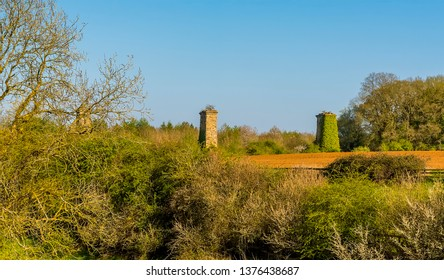 A view across the tree line towards the remains of the railway viaduct on the outskirts of  Hook Norton, Oxfordshire, UK