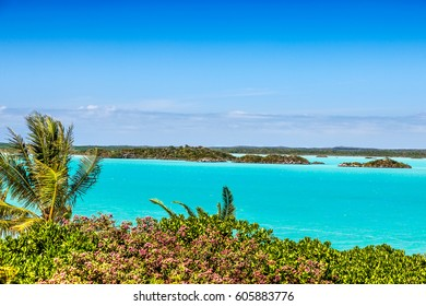View across turquoise waters of Chalk Sound, Providenciales, Turks and Caicos