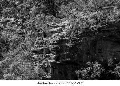 View across the valley of a lookout point at Wentworth Falls, Blue Mountains, NSW, Australia