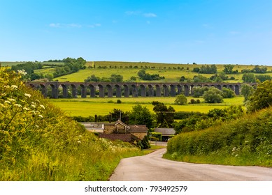 A view across the Welland valley of the Harringworth railway viaduct, the longest masonary viaduct in the UK
