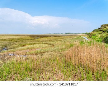 The view across West Wittering saltmarshes on a bright spring day.