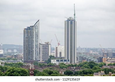View across Westminster looking towards the new blocks of flats and apartments being built in the Elephant and Castle district of Southwark in South London.  Sunny, summer day.