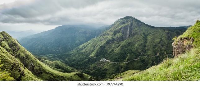 View of Adam's Peak from Little Adam's Peak on a cloudy December Day in Ella, Sri Lanka