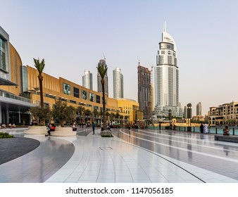 View of Address Hotel Downtown Dubai next to Dubai Mall. Dubai - UAE. 22 July 2018
