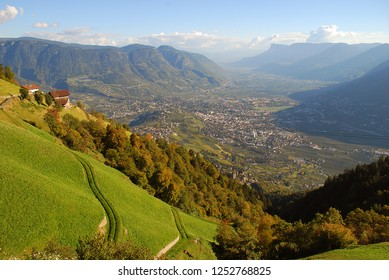 "A view of the Adige valley from Merano to Bolzano, standing at the mountain inn ""Thalbauer"" (Meran, South Tyrol, Italy)"