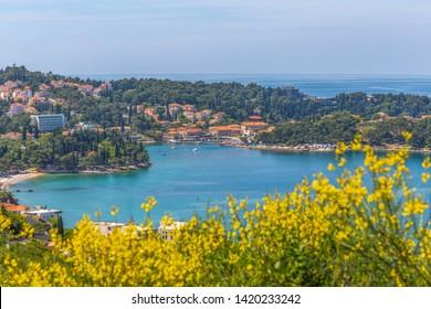 View of Adriatic Sea and Cavtat from an elevated position on a sunny spring day, Dubrovnik Riviera, Croatia, Europe 1-5-2019