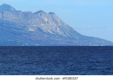 View of the Adriatic Sea on the coast in Croatia