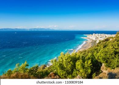 View of Aegean coast of City of Rhodes, Turkish coast in background (Rhodes, Greece)