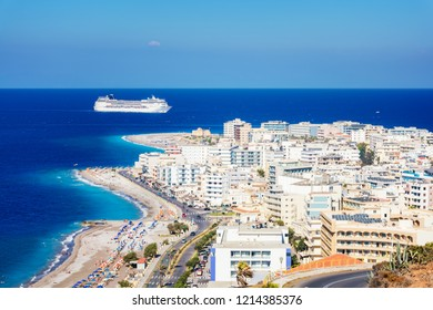 View of Aegean coast of City of Rhodes and cruise ship (Rhodes, Greece)