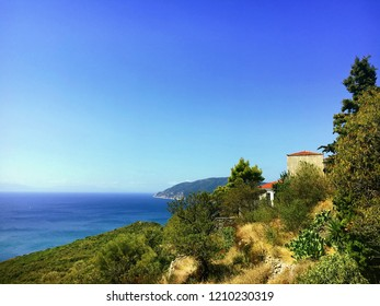 A view of the Aegean sea from Alonissos island in Greece