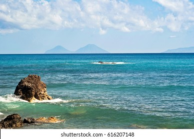 view of the Aeolian Islands from the Brolo beach in the province of Messina, Sicily