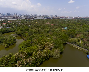 view aerial photo from flying drone of Green woodland with industrial city, large port.concept industrial lung.
