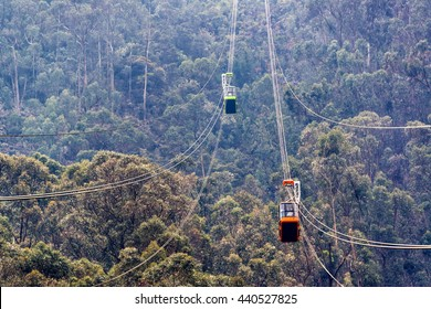 View of the aerial tramway that goes up Monserrate Mountain in Bogota, Colombia