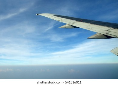 view from Aeroplane, Aero view, bird eye view, sky view with wing plane