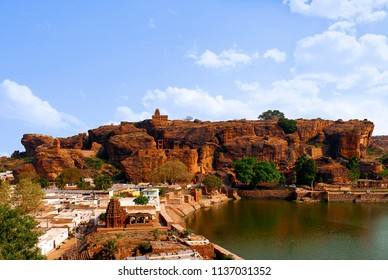 View of Agastya Lake and Badami fort, North, from cave 3, Badami, Karnataka.