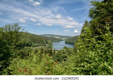 View to Agger Reservoir in Bergisches Land near Gummersbach,North Rhine westphalia,Germany