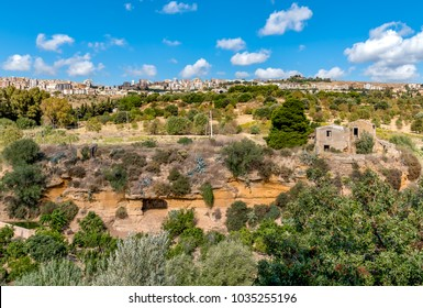 View of Agrigento town from the Temples Valley Archaeological Park, Sicily, Italy