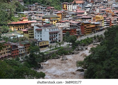 A view of Aguas Calientes in the valley below Machu Picchu.This is where most tourists stay when visiting the Machu Picchu - lost city of the incas.