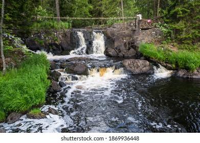View of Ahvenkoski waterfall in the Republic of Karelia, Russia