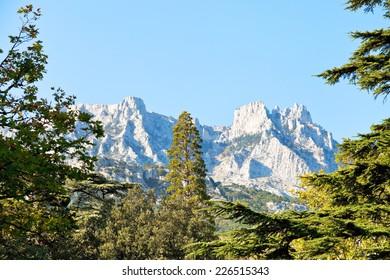 view of Ai-Petri mountain from Alupka garden in autumn day, Crimea