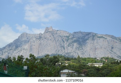 View of AI-Petri mountain in the Crimea, the resort village Miskhor at the foot of the mountain