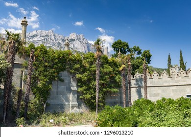 View of AI-Petri mountain from Vorontsov Palace in Crimea Russia