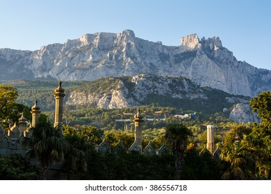 View of the Ai-Petri from the park Vorontsov Palace, Crimea
