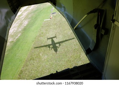 The view from the aiplane's trapdoor.