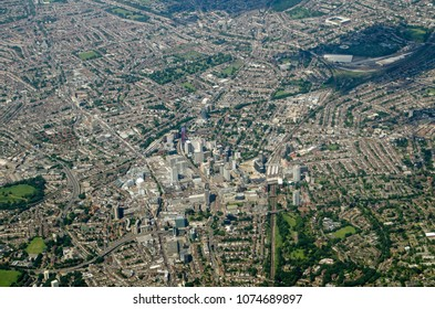 View from the air looking North across Croydon in south London.  The Crystal Palace football team's home ground Selhurst Park is towards the top right and in the centre is East Croydon railway station