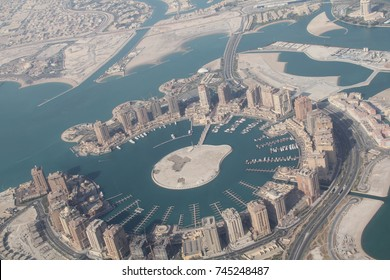 View from the air of The Pearl Qatar, an artificial island in Doha, Qatar, and the Pearl Lagoon.