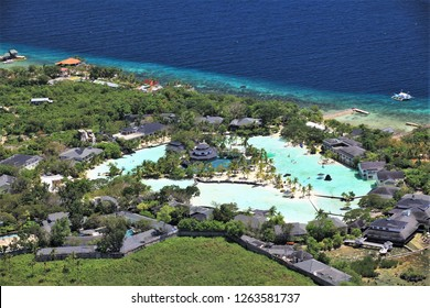 A view from the air of Plantation Bay Resort and Spa in Mactan Island, Philippines.