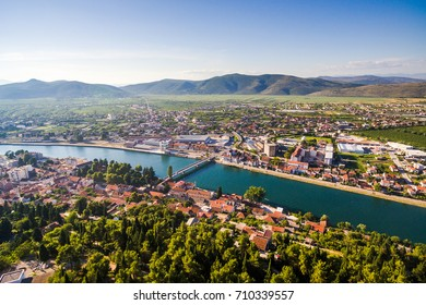 View from the air in a small place in Dalmatia in southern Croatia. Metkovic.