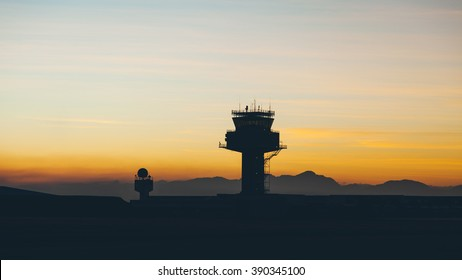 View of air traffic control tower at cape town international airport in evening