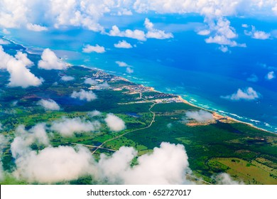 View from airplane above Haiti island, Dominican Republic
