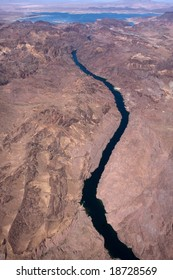 View from airplane to the Colorado river
