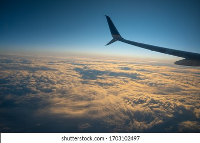 View from airplane, landscape sunrise