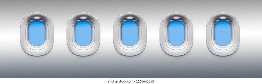 View from an airplane window with blue sky outside. Row of portholes inside the passenger aircraft for your presentation of airlines or air transportation.