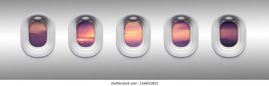 View from airplane window with clouds over the sea at sunset, serenity marine landscape and relaxation. Row of portholes inside a passenger aircraft for your concept of airlines or air transportation.