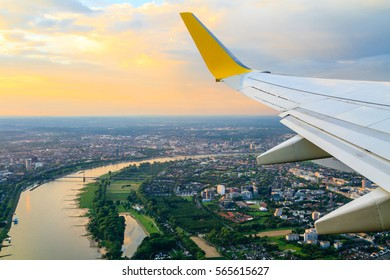View from airplane window to Dusseldorf