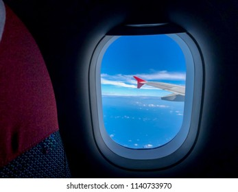 View from airplane window in flight