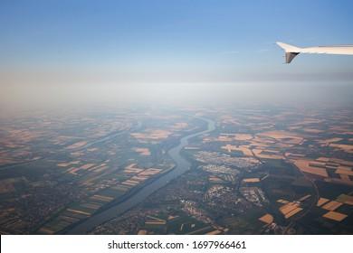 View from airplane window near Frankfurt, Germany.