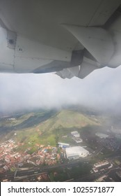 View from the airplane window Tenerife, Canary islands, Spain.