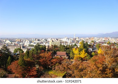 The view of Aizu Wakamatsu from Tsuruga castle, sky soft and blur