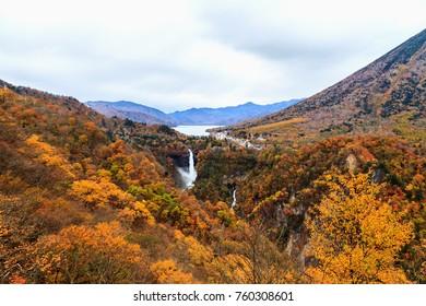 View at Akechidaira Observatory, Autumn season. Lake Chuzenji, Nikko, Japan