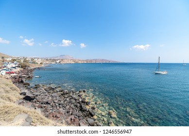 View of Akrotiri beach - Santorini Cyclades island - Aegean sea - Greece