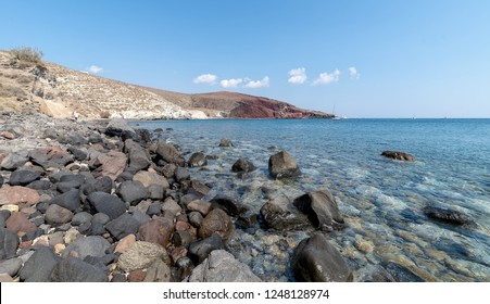 View of Akrotiri Kambia beach - Santorini Cyclades island - Aegean sea - Greece