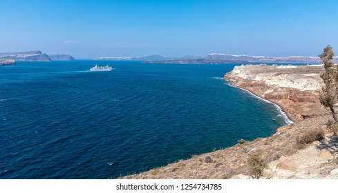 View of Akrotiri lighthouse - Santorini Cyclades island - Aegean sea - Greece