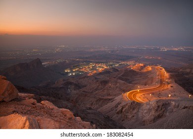 View to Al Ain (UAE) from Jebel Hafeet mountain just after sunset