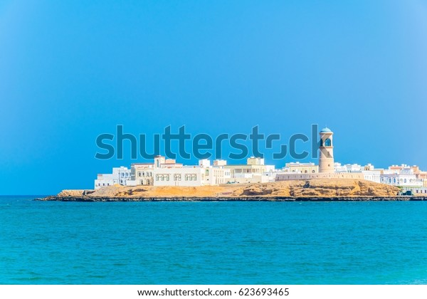 View of the Al Ayjah town from a beach in Sur, Oman.